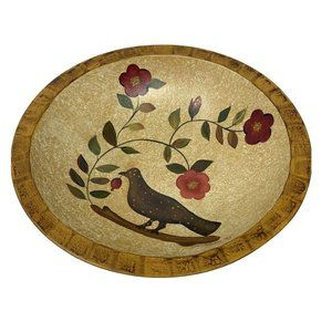 Wooden Bowl with Bird Flowers Signed For Keeps 93'